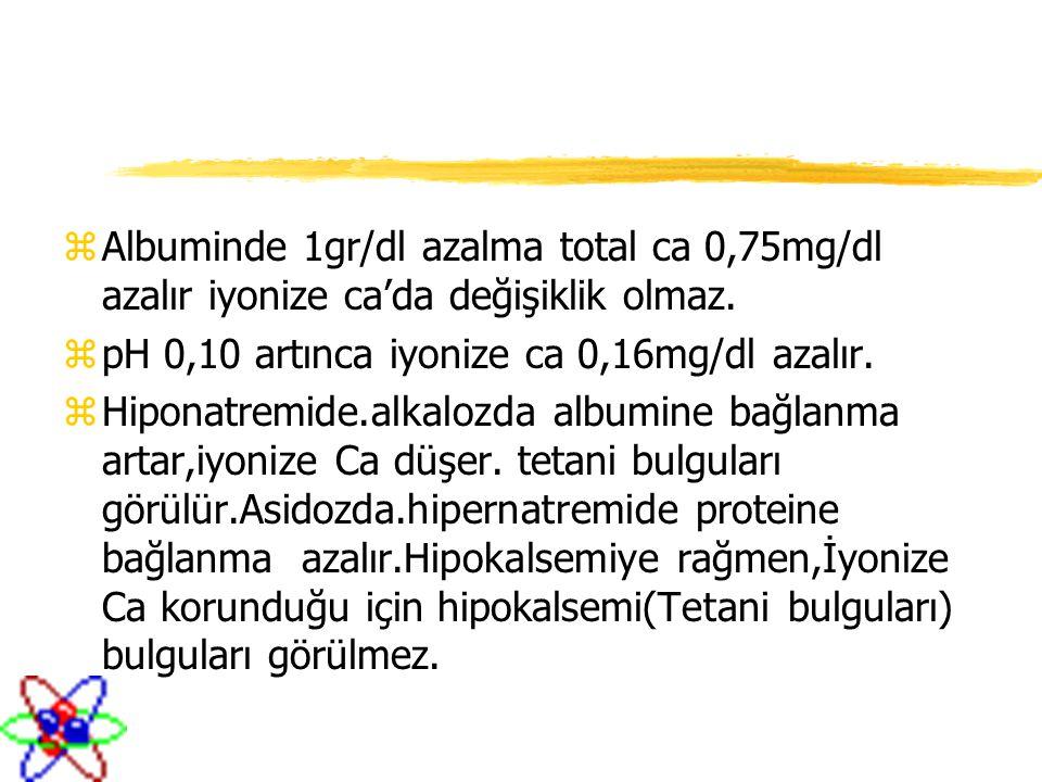zAlbuminde 1gr/dl azalma total ca 0,75mg/dl azalır iyonize ca'da değişiklik olmaz. zpH 0,10 artınca iyonize ca 0,16mg/dl azalır. zHiponatremide.alkalo
