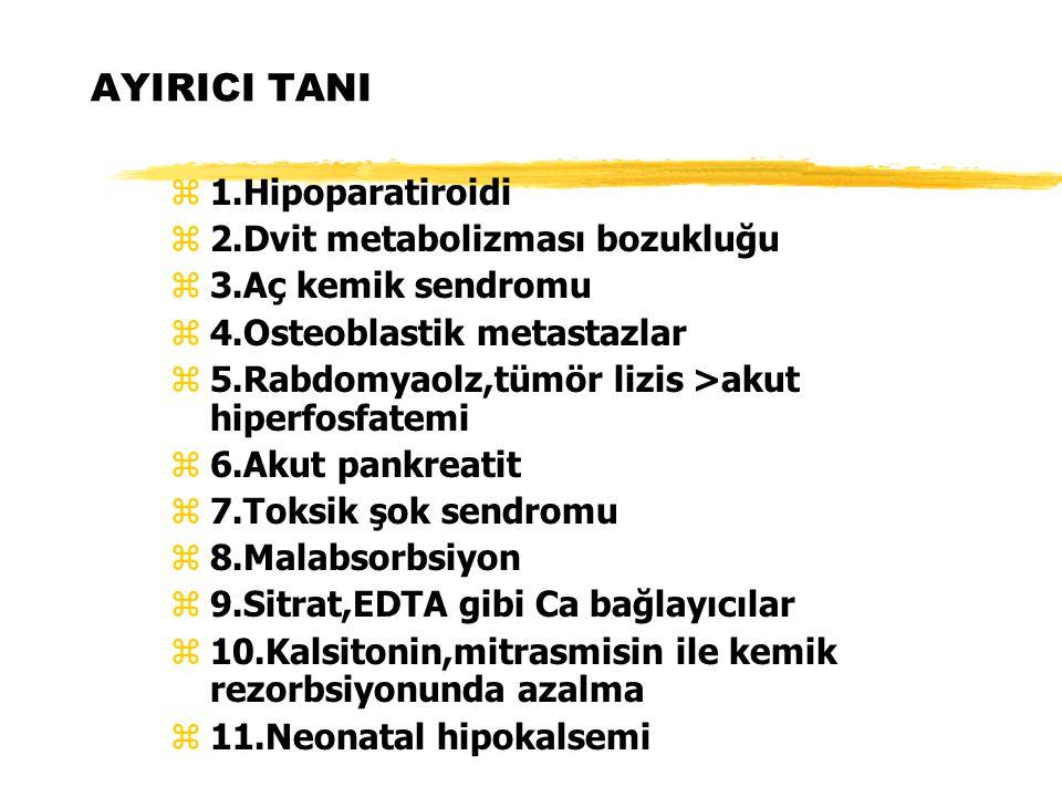 AYIRICI TANI z1.Hipoparatiroidi z2.Dvit metabolizması bozukluğu z3.Aç kemik sendromu z4.Osteoblastik metastazlar z5.Rabdomyaolz,tümör lizis >akut hipe
