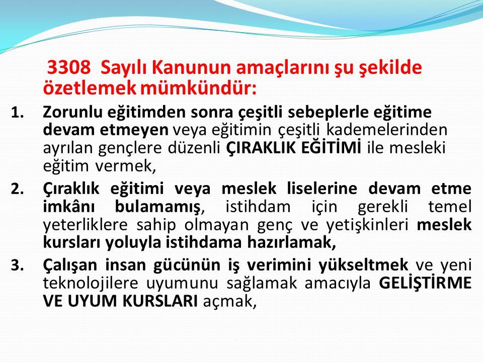 3308 Sayılı Kanunun amaçlarını şu şekilde özetlemek mümkündür: 1.