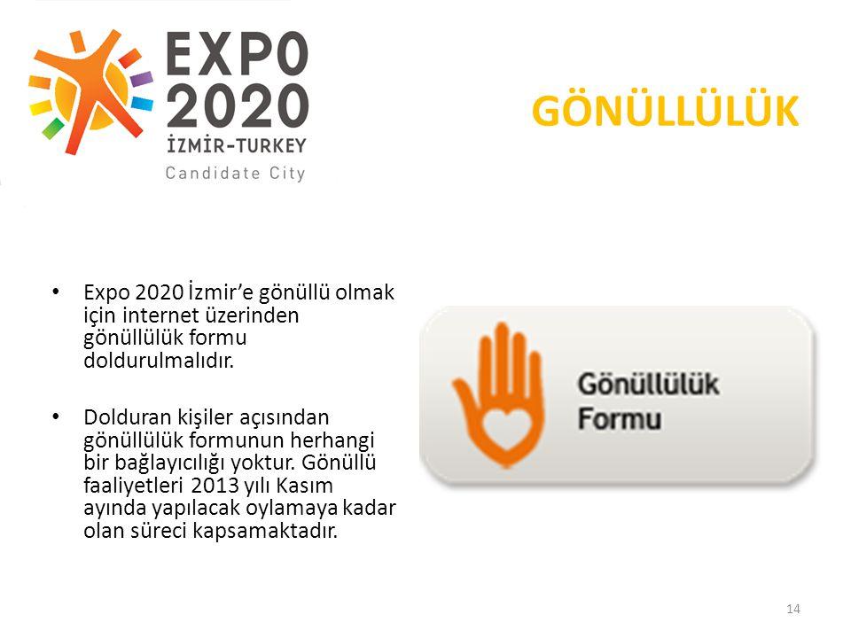 GÖNÜLLÜLÜK Expo 2020 İzmir'e gönüllü olmak için internet üzerinden gönüllülük formu doldurulmalıdır.