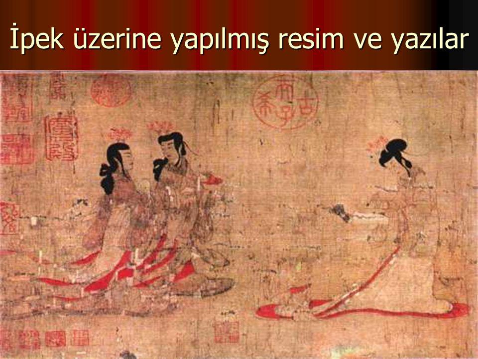 İpek üzerine yapılmış resim ve yazılar