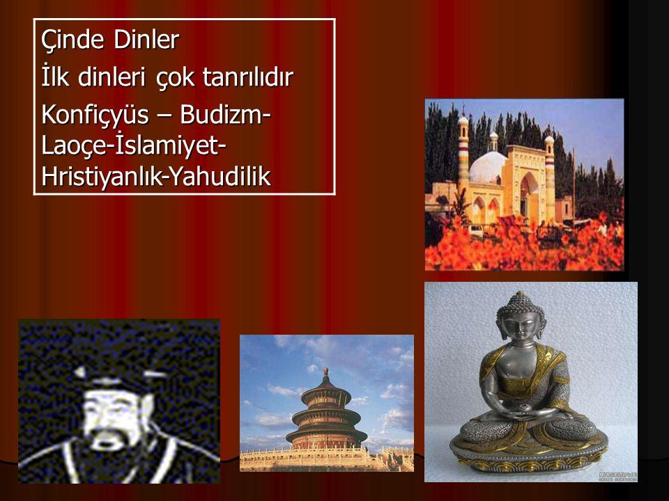 Çinde Dinler İlk dinleri çok tanrılıdır Konfiçyüs – Budizm- Laoçe-İslamiyet- Hristiyanlık-Yahudilik