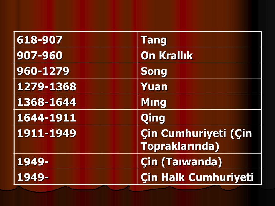 618-907Tang 907-960 On Krallık 960-1279Song 1279-1368Yuan 1368-1644Mıng 1644-1911Qing 1911-1949 Çin Cumhuriyeti (Çin Topraklarında) 1949- Çin (Taıwanda) 1949- Çin Halk Cumhuriyeti