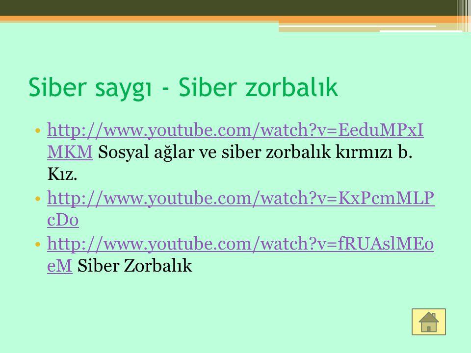 Siber saygı - Siber zorbalık http://www.youtube.com/watch?v=EeduMPxI MKM Sosyal ağlar ve siber zorbalık kırmızı b. Kız.http://www.youtube.com/watch?v=