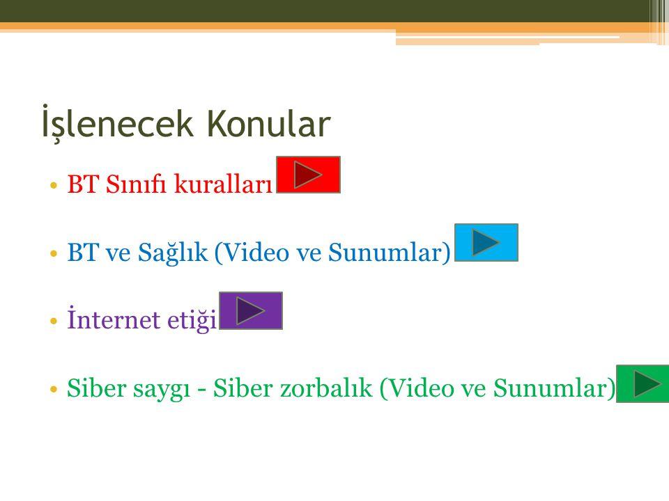 İşlenecek Konular BT Sınıfı kuralları BT ve Sağlık (Video ve Sunumlar) İnternet etiği Siber saygı - Siber zorbalık (Video ve Sunumlar)