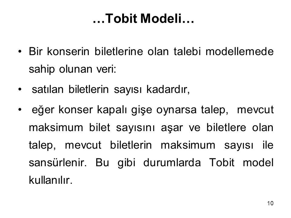 10 …Tobit Modeli… Bir konserin biletlerine olan talebi modellemede sahip olunan veri: satılan biletlerin sayısı kadardır, eğer konser kapalı gişe oyna