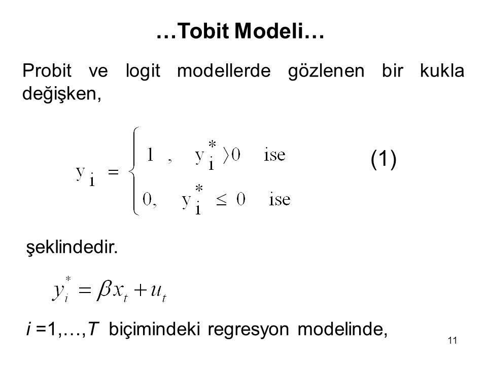 11 (1) Probit ve logit modellerde gözlenen bir kukla değişken, şeklindedir. i =1,…,T biçimindeki regresyon modelinde, …Tobit Modeli…