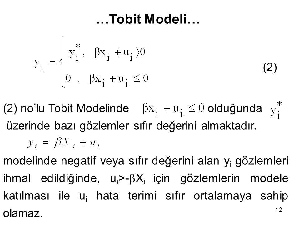 12 (2) …Tobit Modeli… (2) no'lu Tobit Modelinde olduğunda üzerinde bazı gözlemler sıfır değerini almaktadır. modelinde negatif veya sıfır değerini ala