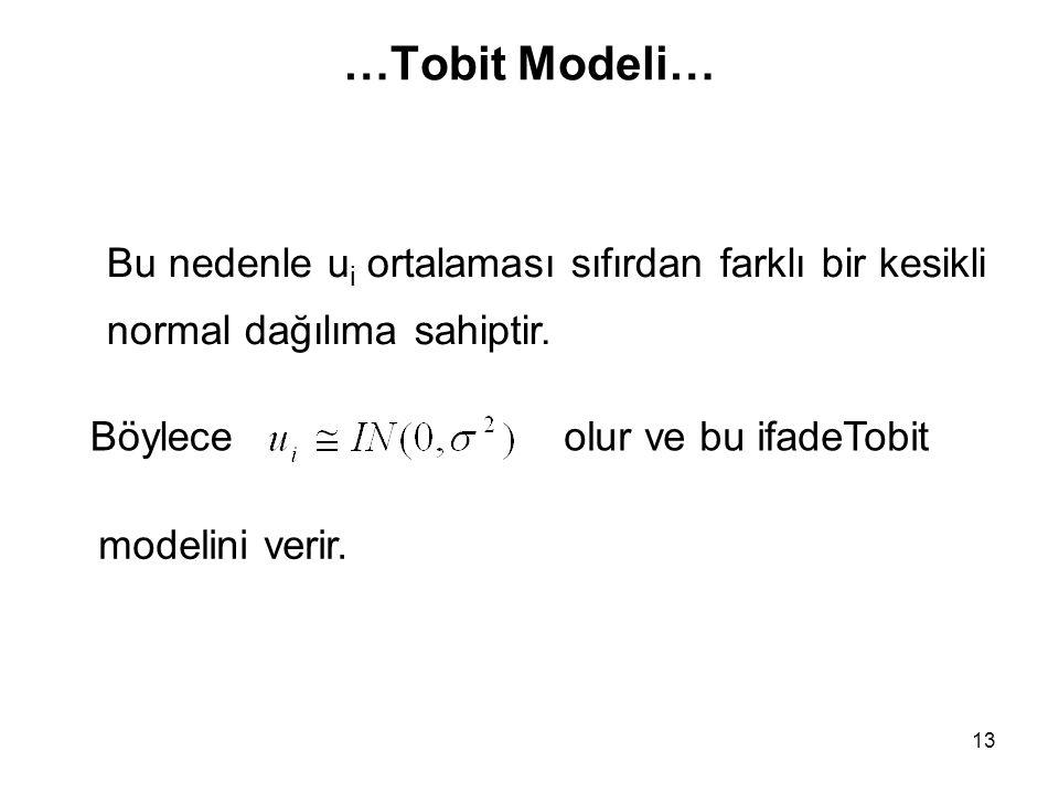 …Tobit Modeli… 13 olur ve bu ifadeTobitBöylece Bu nedenle u i ortalaması sıfırdan farklı bir kesikli normal dağılıma sahiptir. modelini verir.