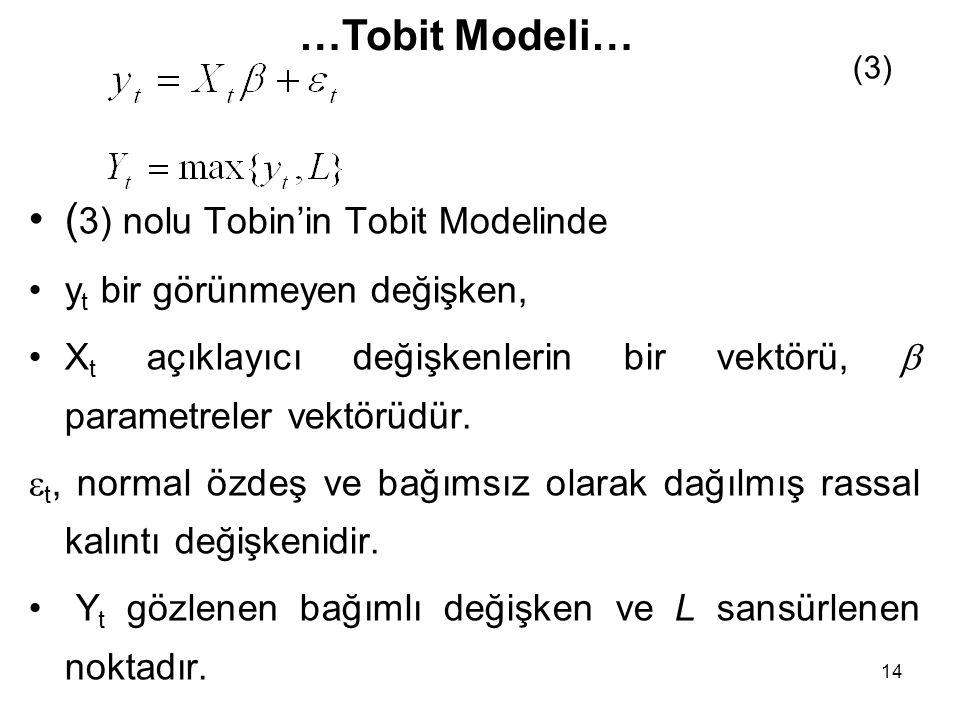 14 ( 3) nolu Tobin'in Tobit Modelinde y t bir görünmeyen değişken, X t açıklayıcı değişkenlerin bir vektörü,  parametreler vektörüdür.  t, normal öz