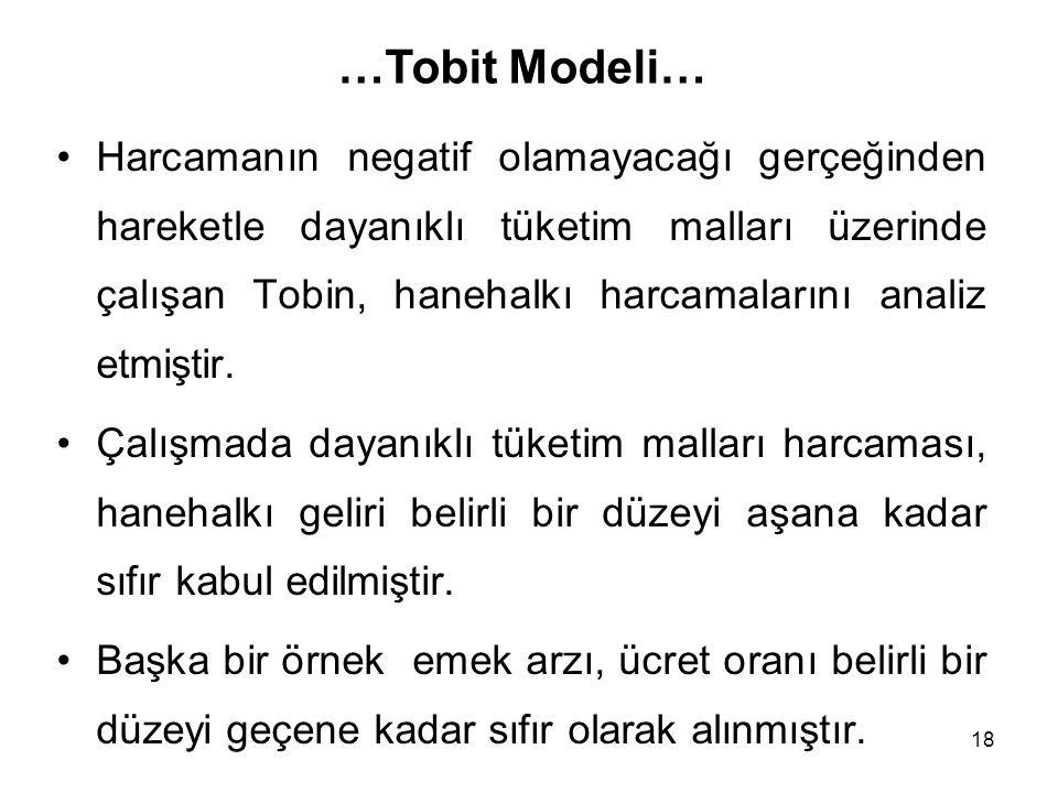 18 Harcamanın negatif olamayacağı gerçeğinden hareketle dayanıklı tüketim malları üzerinde çalışan Tobin, hanehalkı harcamalarını analiz etmiştir. Çal