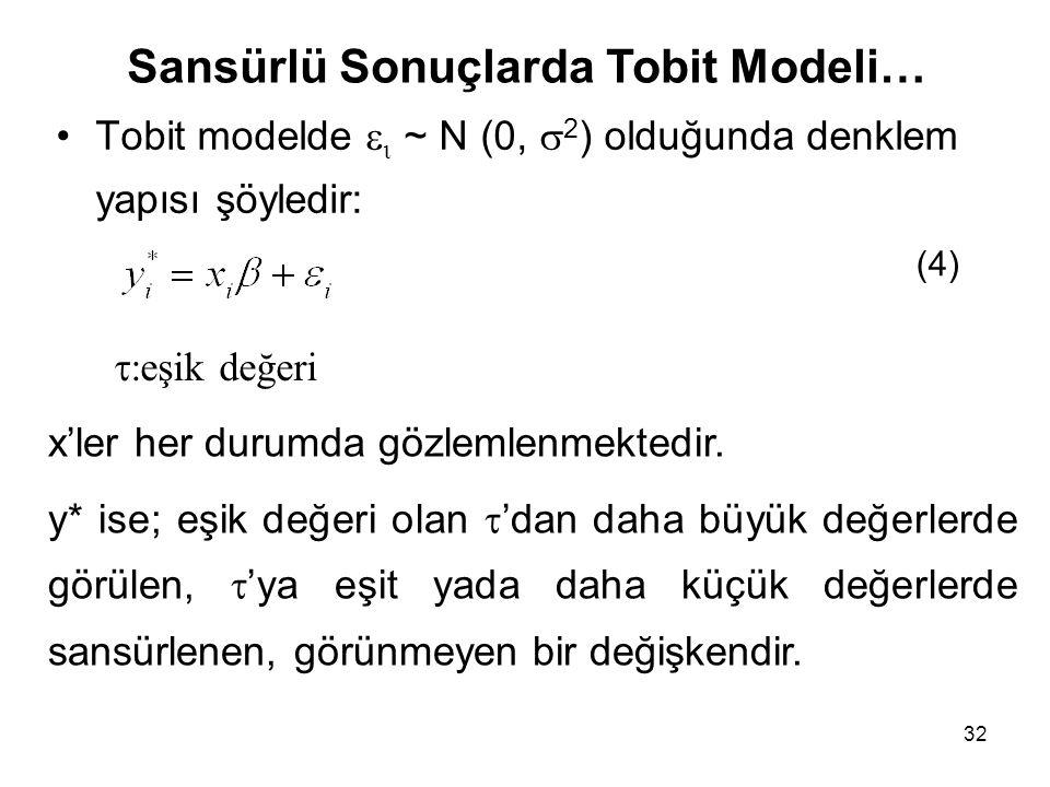 32 Tobit modelde   ~ N (0,  2 ) olduğunda denklem yapısı şöyledir: (4) x'ler her durumda gözlemlenmektedir. y* ise; eşik değeri olan  'dan daha bü