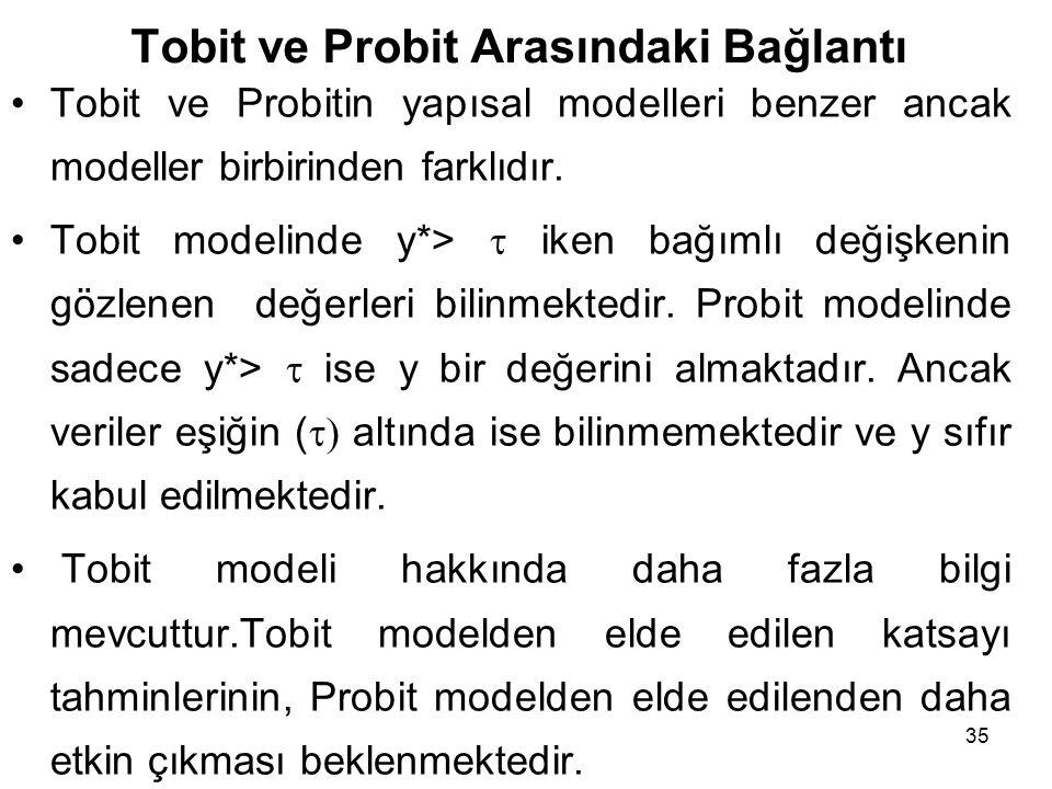 35 Tobit ve Probit Arasındaki Bağlantı Tobit ve Probitin yapısal modelleri benzer ancak modeller birbirinden farklıdır. Tobit modelinde y*>  iken bağ