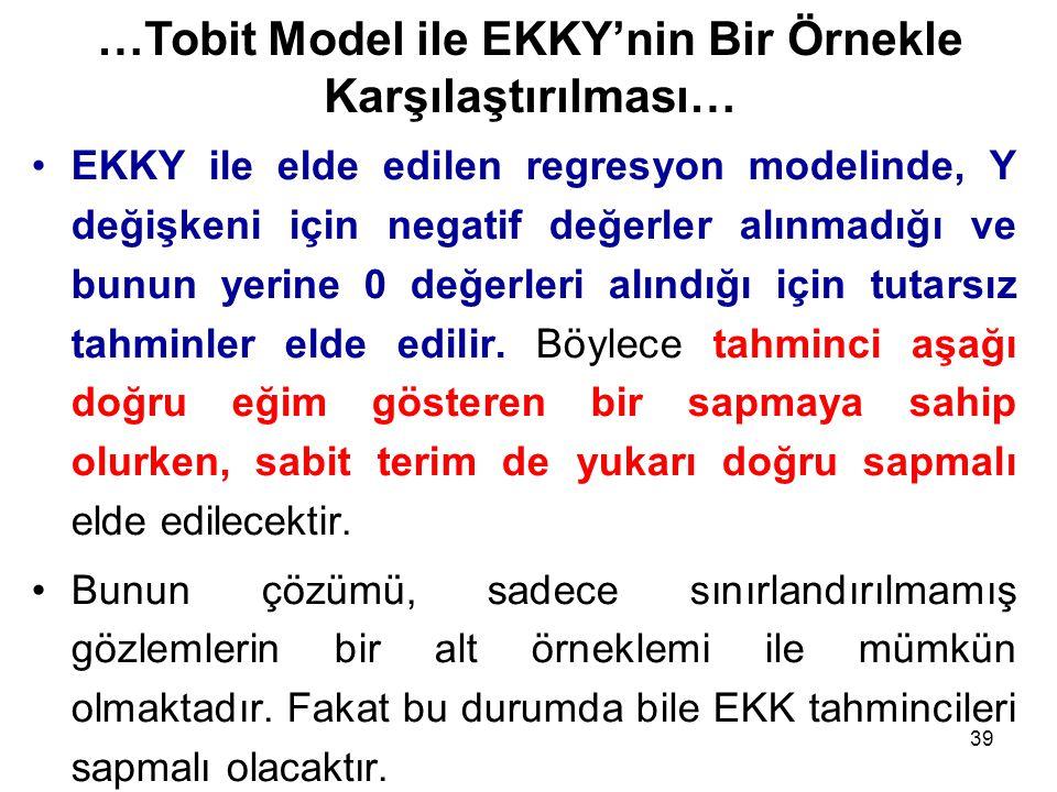 39 EKKY ile elde edilen regresyon modelinde, Y değişkeni için negatif değerler alınmadığı ve bunun yerine 0 değerleri alındığı için tutarsız tahminler
