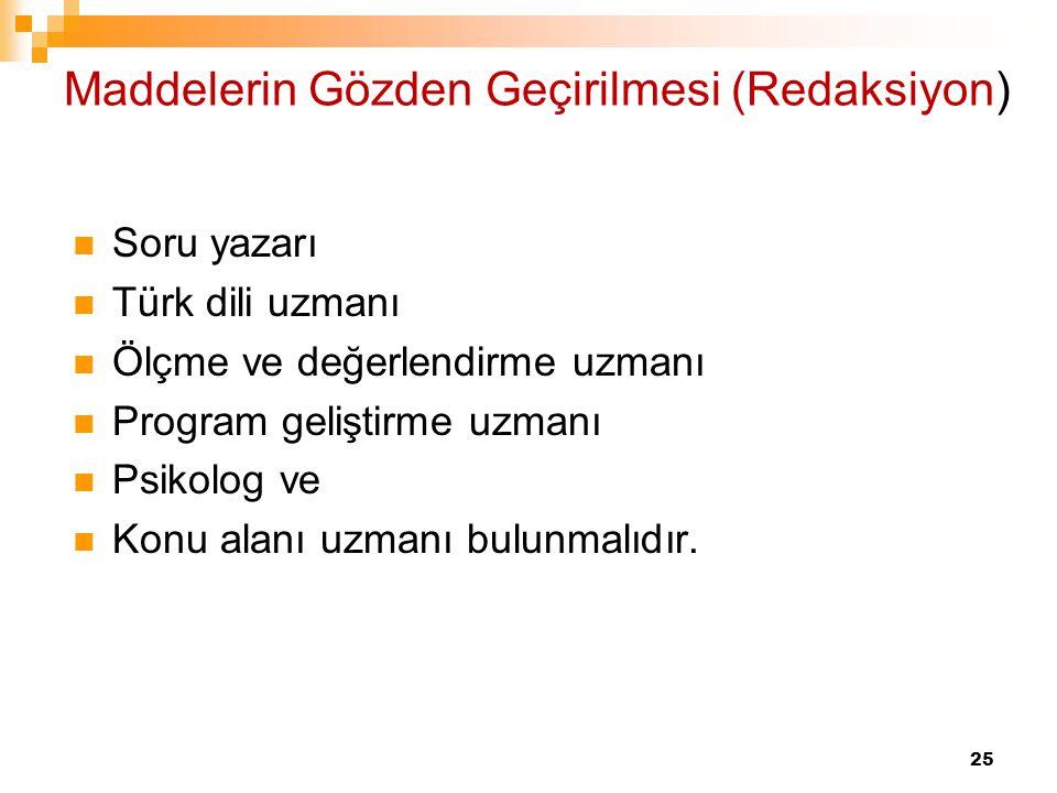 25 Maddelerin Gözden Geçirilmesi (Redaksiyon) Soru yazarı Türk dili uzmanı Ölçme ve değerlendirme uzmanı Program geliştirme uzmanı Psikolog ve Konu al