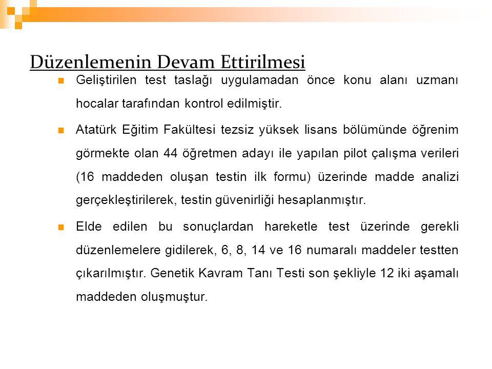 Düzenlemenin Devam Ettirilmesi Geliştirilen test taslağı uygulamadan önce konu alanı uzmanı hocalar tarafından kontrol edilmiştir. Atatürk Eğitim Fakü