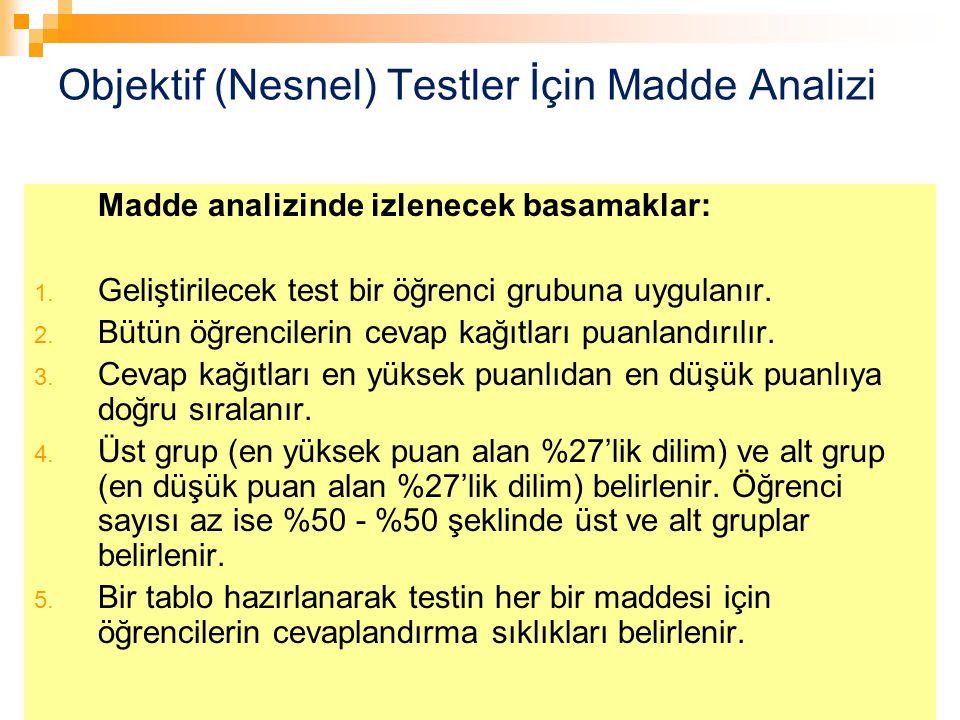 73 Objektif (Nesnel) Testler İçin Madde Analizi Madde analizinde izlenecek basamaklar: 1. Geliştirilecek test bir öğrenci grubuna uygulanır. 2. Bütün