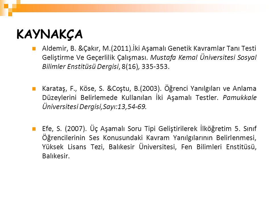 KAYNAKÇA Aldemir, B. &Çakır, M.(2011).İki Aşamalı Genetik Kavramlar Tanı Testi Geliştirme Ve Geçerlilik Çalışması. Mustafa Kemal Üniversitesi Sosyal B