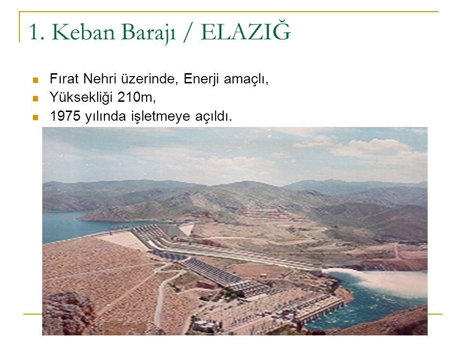 1. Keban Barajı / ELAZIĞ Fırat Nehri üzerinde, Enerji amaçlı, Yüksekliği 210m, 1975 yılında işletmeye açıldı.