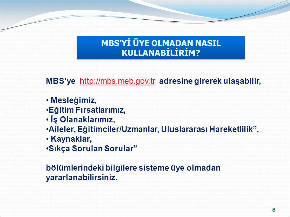 MBS'Yİ ÜYE OLMADAN NASIL KULLANABİLİRİM? 8 MBS'ye http://mbs.meb.gov.tr adresine girerek ulaşabilir, Mesleğimiz, Eğitim Fırsatlarımız, İş Olanaklarımı