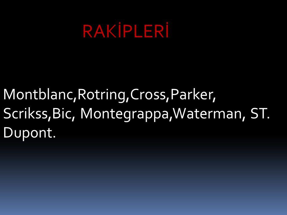 Montblanc,Rotring,Cross,Parker, Scrikss,Bic, Montegrappa,Waterman, ST. Dupont. RAKİPLERİ
