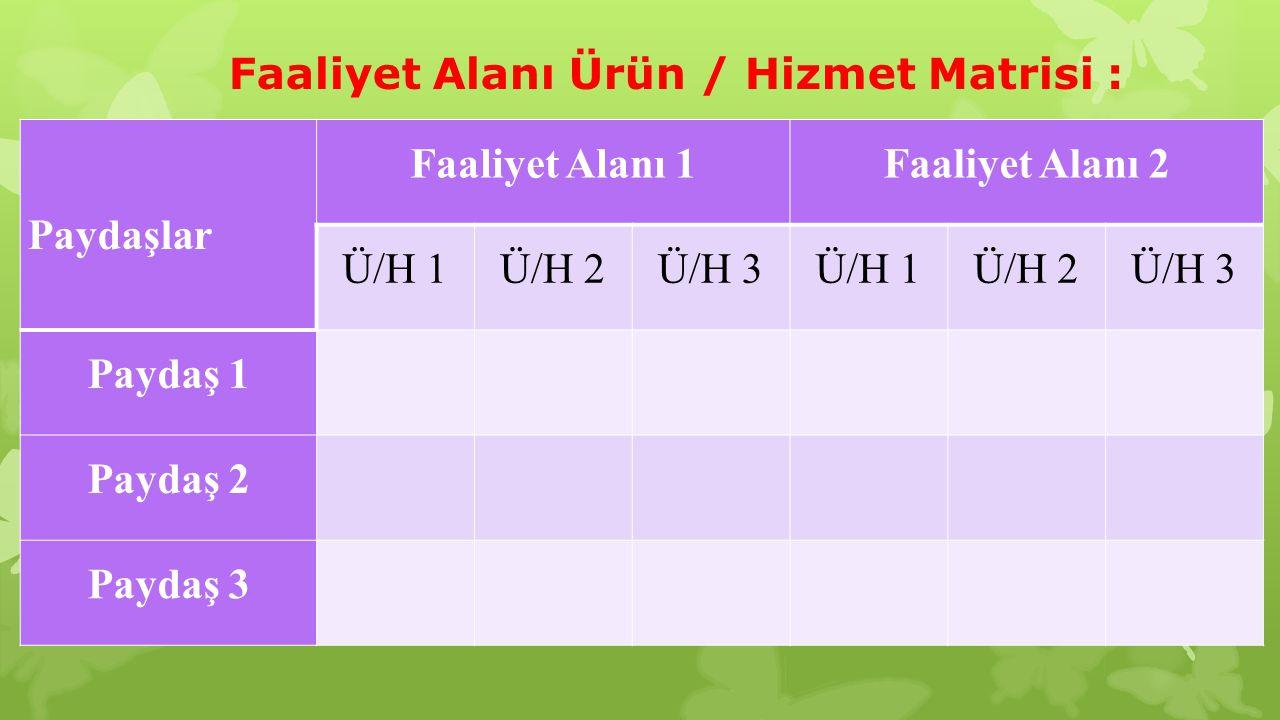 Paydaşlar Faaliyet Alanı 1Faaliyet Alanı 2 Ü/H 1Ü/H 2Ü/H 3Ü/H 1Ü/H 2Ü/H 3 Paydaş 1 Paydaş 2 Paydaş 3 Faaliyet Alanı Ürün / Hizmet Matrisi :