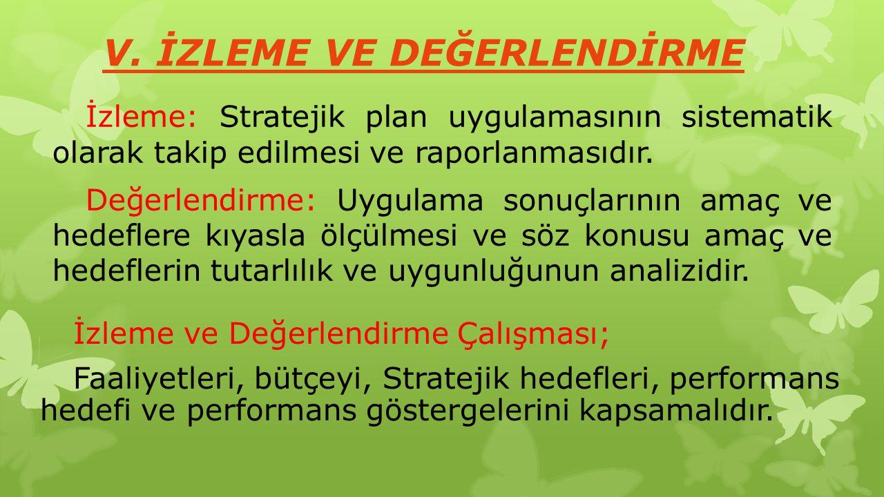 V. İZLEME VE DEĞERLENDİRME İzleme: Stratejik plan uygulamasının sistematik olarak takip edilmesi ve raporlanmasıdır. Değerlendirme: Uygulama sonuçları