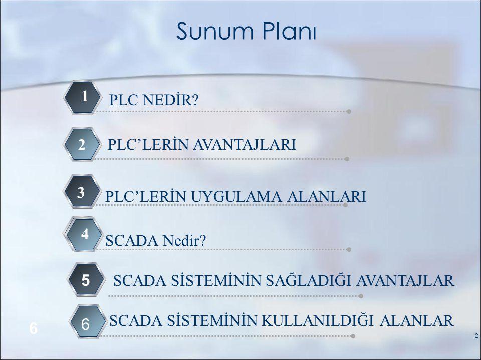 Sunum Planı PLC NEDİR.1 PLC'LERİN AVANTAJLARI 2 PLC'LERİN UYGULAMA ALANLARI 3 SCADA Nedir.