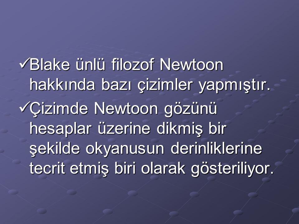 Blake ünlü filozof Newtoon hakkında bazı çizimler yapmıştır.