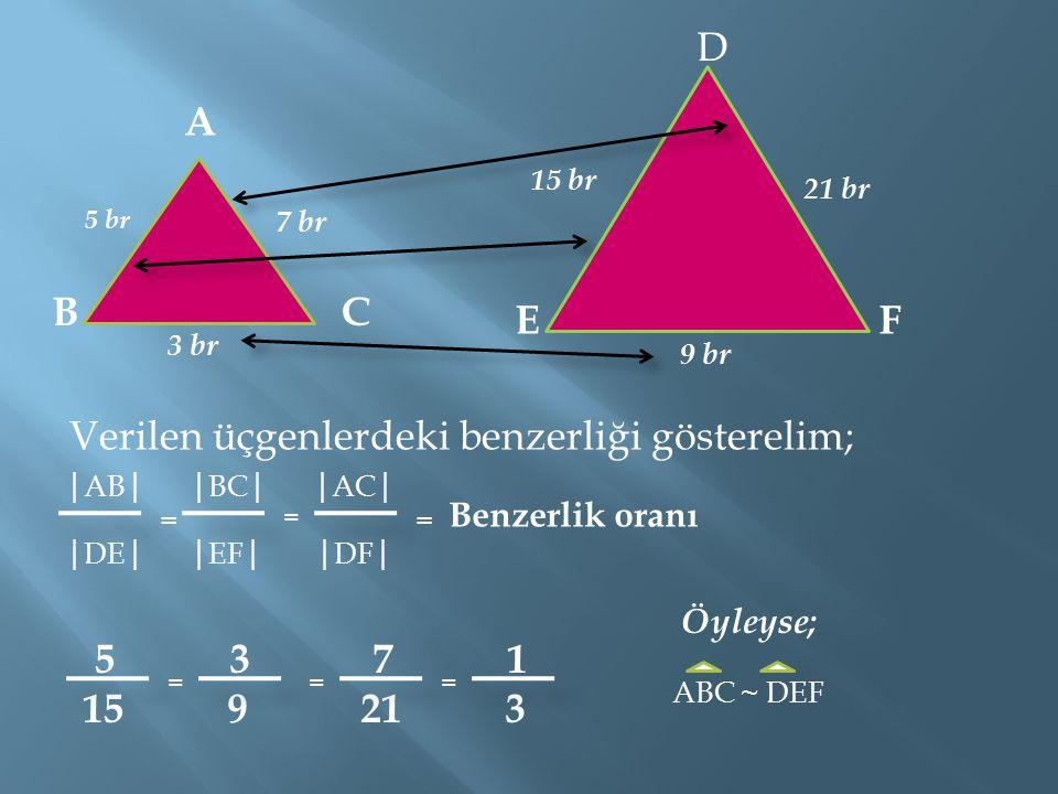 Verilen üçgenlerdeki benzerliği gösterelim; A BC D EF 3 br 9 br 5 br 7 br 15 br 21 br │ AB │ │ BC │ │ AC │ │ DE │ │ EF │ │ DF │ 5 3 7 1 15 9 21 3 = = = Benzerlik oranı === Öyleyse; ABC ~ DEF