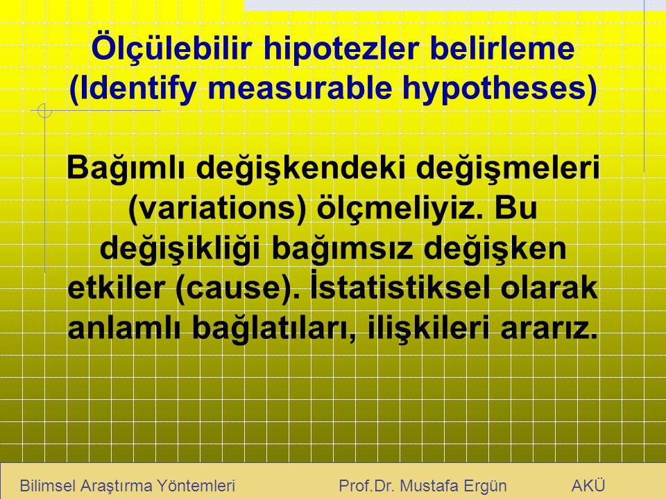 Ölçülebilir hipotezler belirleme (Identify measurable hypotheses) Bağımlı değişkendeki değişmeleri (variations) ölçmeliyiz. Bu değişikliği bağımsız de