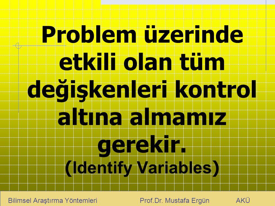 Problem üzerinde etkili olan tüm değişkenleri kontrol altına almamız gerekir. ( Identify Variables ) Bilimsel Araştırma Yöntemleri Prof.Dr. Mustafa Er
