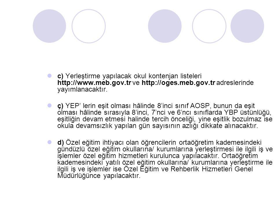 c) Yerleştirme yapılacak okul kontenjan listeleri http://www.meb.gov.tr ve http://oges.meb.gov.tr adreslerinde yayımlanacaktır. ç) YEP' lerin eşit olm