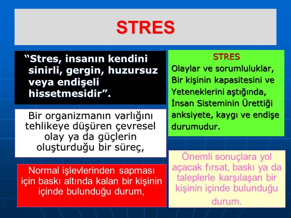 PSİKOFİZYOLOJİ Stres yapıcı faktörlere vücudun fizyolojik cevabı, zihin-beden etkileşimi sonucunda belirlenir.