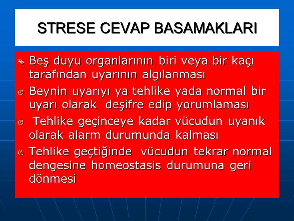STRESE CEVAP ( SAVAŞMAYA YADA KAÇMAYA HAZIRLANMA) İnsandaki yaşama veya ayakta kalabilme güdüsü, arka beyini harekete geçirir ve vücudu, savaşmaya vey