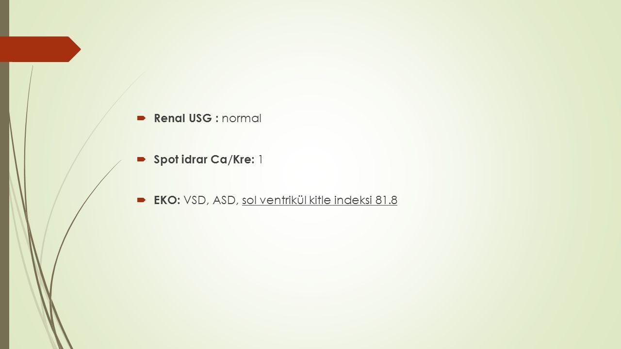  Renal USG : normal  Spot idrar Ca/Kre: 1  EKO: VSD, ASD, sol ventrikül kitle indeksi 81.8