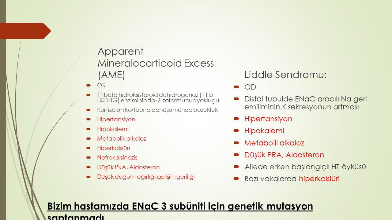Apparent Mineralocorticoid Excess (AME)  OR  11beta hidroksisteroid dehidrogenaz (11 b HSDHG) enziminin tip-2 izoformunun yoklugu  Kortizolün korti