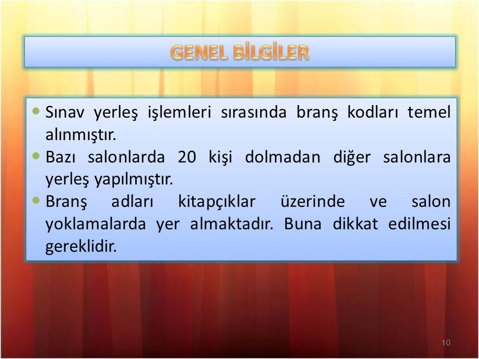 10 Sınav yerleş işlemleri sırasında branş kodları temel alınmıştır.