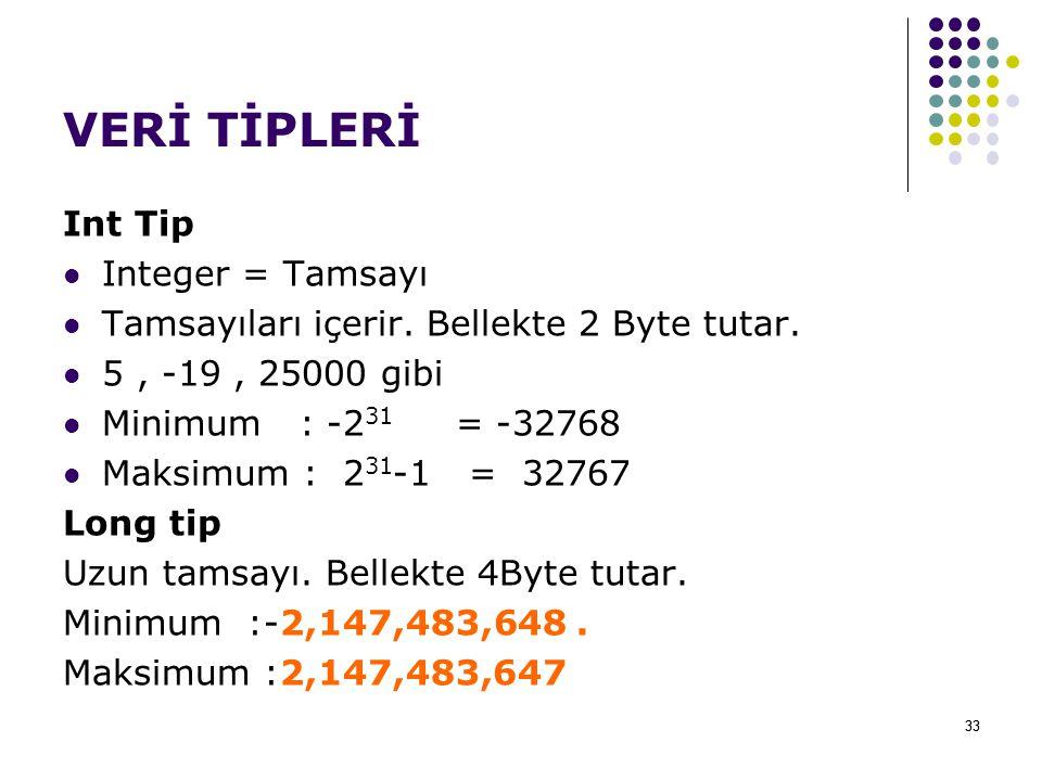 33 VERİ TİPLERİ Int Tip Integer = Tamsayı Tamsayıları içerir.