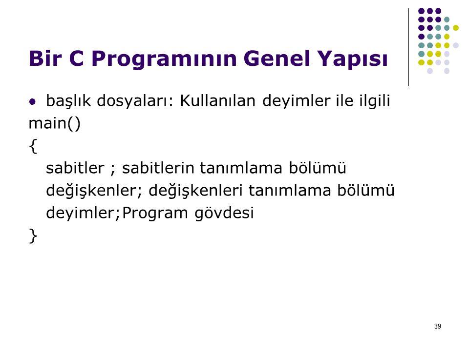 39 Bir C Programının Genel Yapısı başlık dosyaları: Kullanılan deyimler ile ilgili main() { sabitler ;sabitlerin tanımlama bölümü değişkenler; değişkenleri tanımlama bölümü deyimler;Program gövdesi }