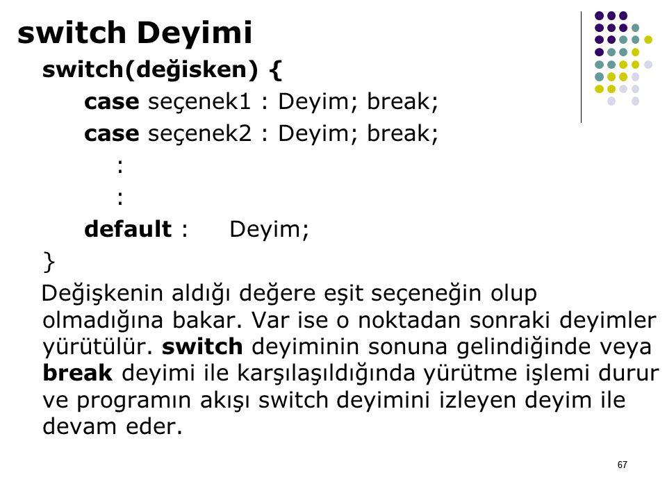 67 switch Deyimi switch(değisken) { case seçenek1 : Deyim; break; case seçenek2 : Deyim; break; : default : Deyim; } Değişkenin aldığı değere eşit seçeneğin olup olmadığına bakar.
