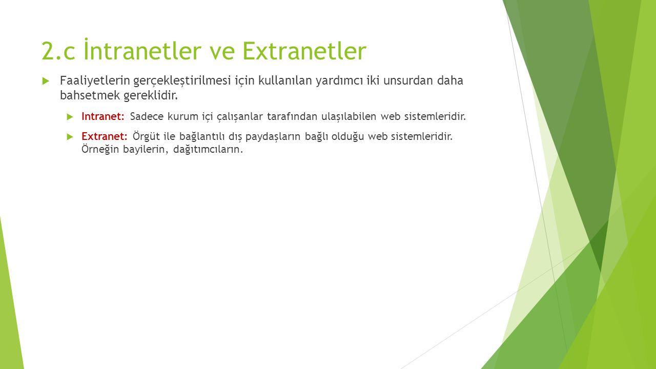 2.c İntranetler ve Extranetler  Faaliyetlerin gerçekleştirilmesi için kullanılan yardımcı iki unsurdan daha bahsetmek gereklidir.