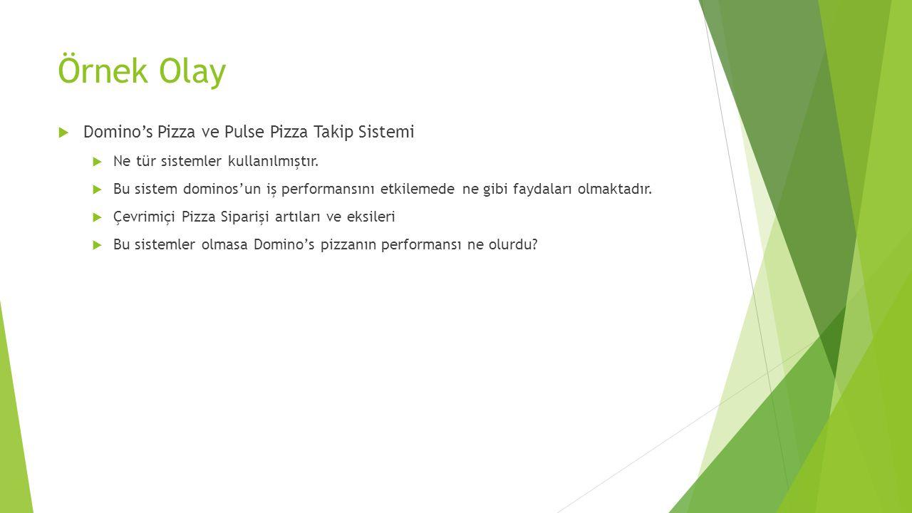 Örnek Olay  Domino's Pizza ve Pulse Pizza Takip Sistemi  Ne tür sistemler kullanılmıştır.