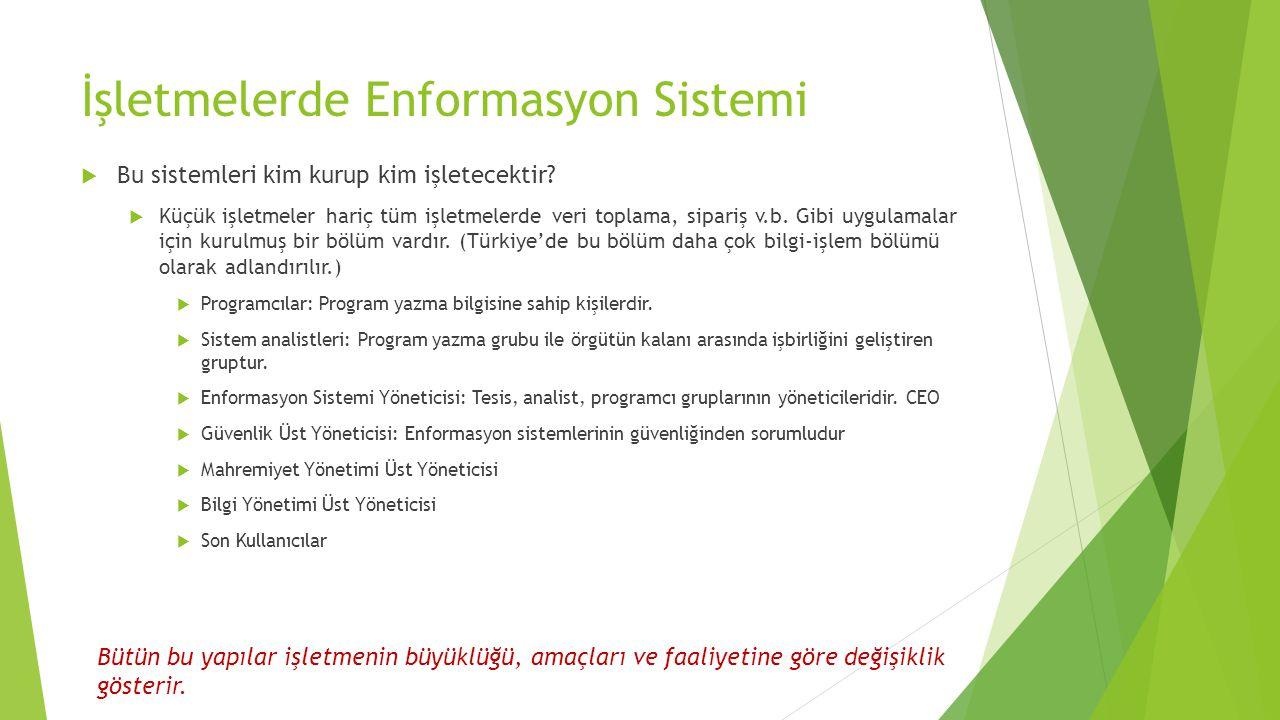 İşletmelerde Enformasyon Sistemi  Bu sistemleri kim kurup kim işletecektir.