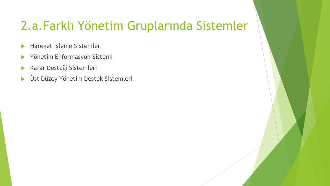 2.a.Farklı Yönetim Gruplarında Sistemler  Hareket İşleme Sistemleri  Yönetim Enformasyon Sistemi  Karar Desteği Sistemleri  Üst Düzey Yönetim Destek Sistemleri