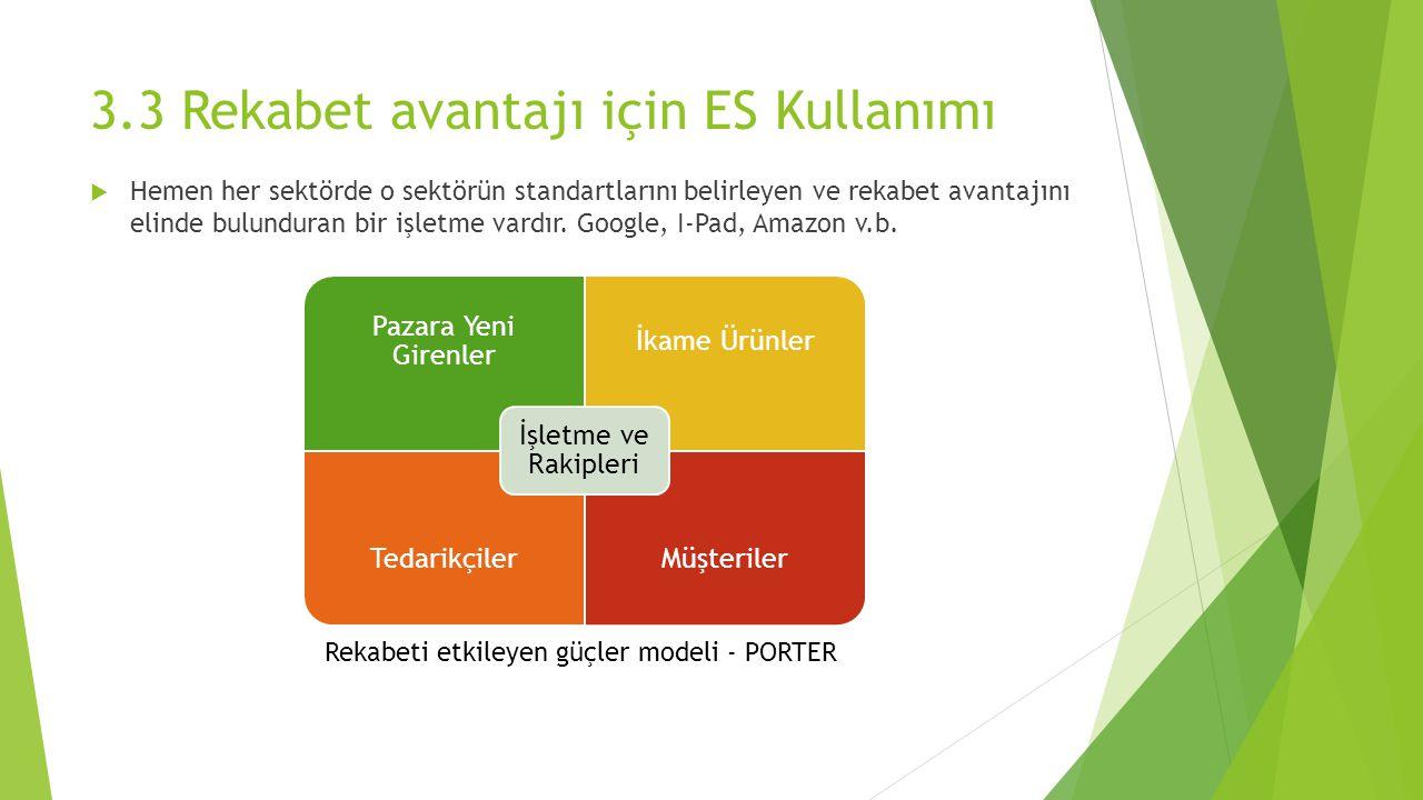 3.3 Rekabet avantajı için ES Kullanımı  Hemen her sektörde o sektörün standartlarını belirleyen ve rekabet avantajını elinde bulunduran bir işletme vardır.