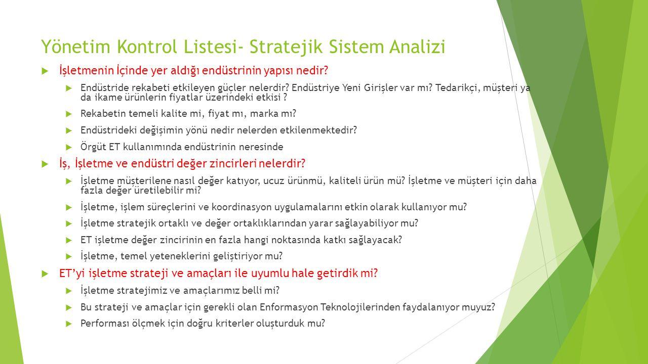Yönetim Kontrol Listesi- Stratejik Sistem Analizi  İşletmenin İçinde yer aldığı endüstrinin yapısı nedir.