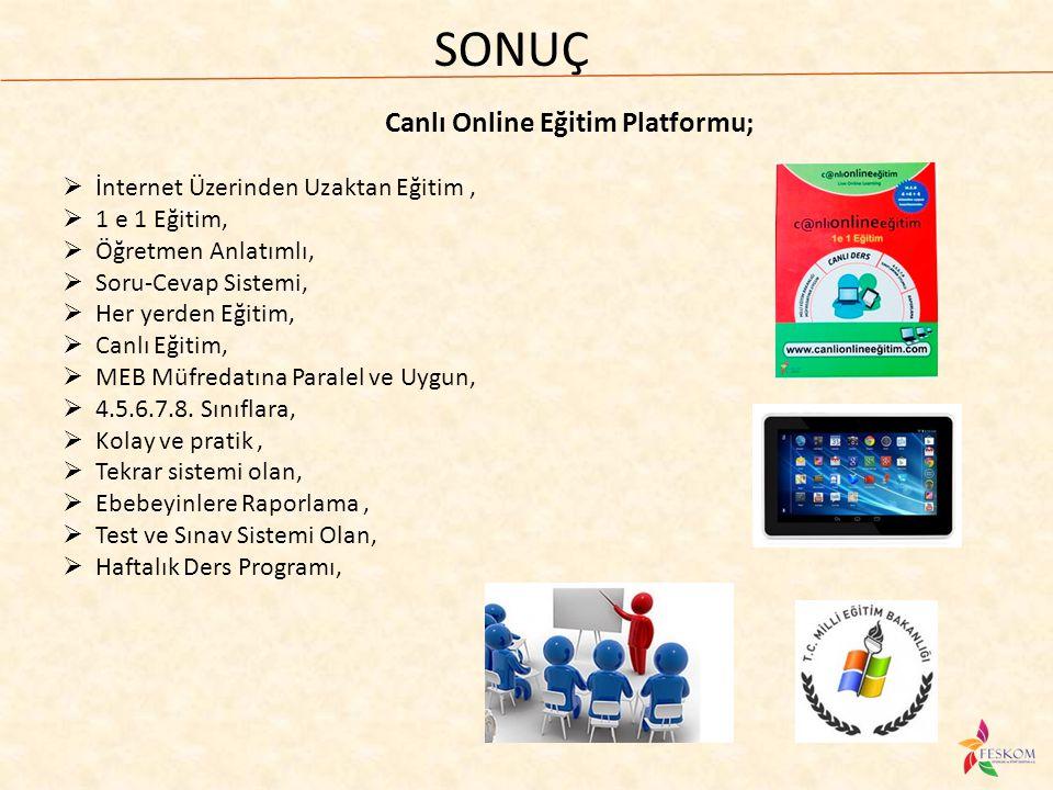 SONUÇ Canlı Online Eğitim Platformu;  İnternet Üzerinden Uzaktan Eğitim,  1 e 1 Eğitim,  Öğretmen Anlatımlı,  Soru-Cevap Sistemi,  Her yerden Eği