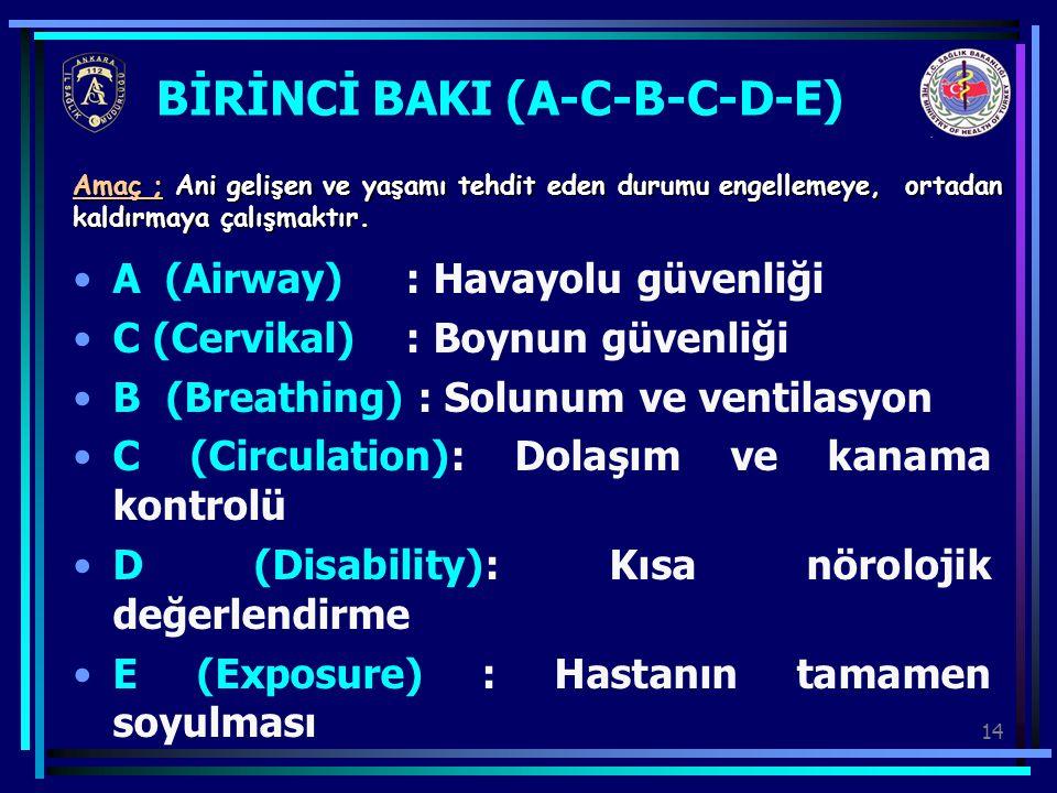 14 BİRİNCİ BAKI (A-C-B-C-D-E) A (Airway) : Havayolu güvenliği C (Cervikal) : Boynun güvenliği B (Breathing) : Solunum ve ventilasyon C (Circulation):