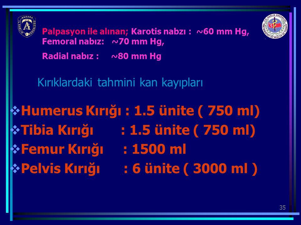 35  Humerus Kırığı : 1.5 ünite ( 750 ml)  Tibia Kırığı : 1.5 ünite ( 750 ml)  Femur Kırığı : 1500 ml  Pelvis Kırığı : 6 ünite ( 3000 ml ) Palpasyo